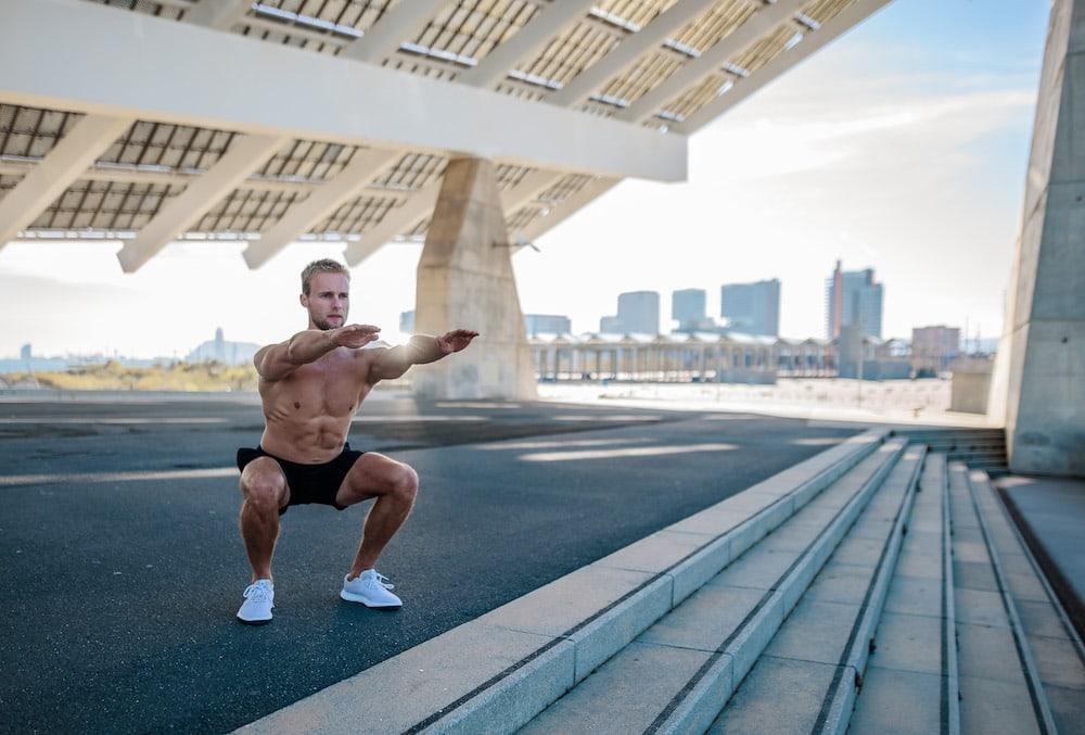 Runner doing squats